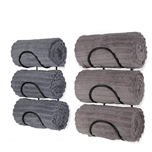 Wallniture Wrought Iron Metal Towel Rack - Solid Quality Wall Mountable for Bathroom Storage - Large Enough to Fit Rolled Bath Beach Towels Black Set of 2