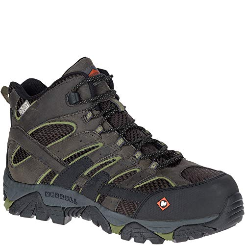 Merrell Men's Moab 2 Vent Mid Waterproof CT Work Boots, Pewter, 11 M