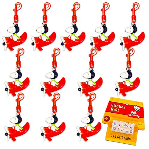 Peanuts Snoopy Keychain Party Favors Set ~ Bundle Inlcudes 12 Red Baron Airplane Backpack Clips Ornaments with Bonus Peanuts Stickers (Snoopy Party Supplies)