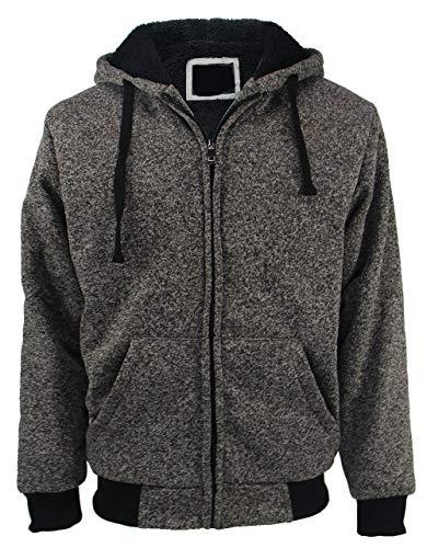 Yasumond Zip Up Sweatshirts for Men Sherpa Lined Heavyweight Warm Hoodies Charcoal