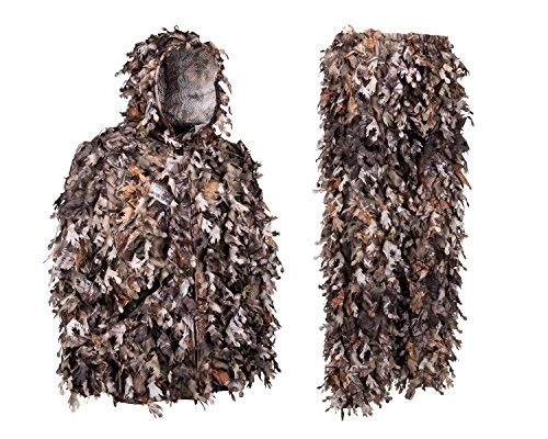 North Mountain Gear Ghillie Suit - Camo Hunting Suit - 3D Leafy Suit - Camouflage Hunting Suit Camo Jacket & Pants - Full Front Zipper, Zippered Pockets - Breathable, Quiet (Woodland Brown, XL)