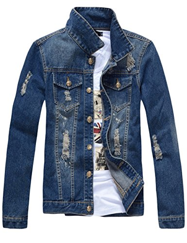 sandbank Men's Classic Button Slim Fit Ripped Washed Denim Jacket Jean Coat (Dark Blue, Medium)