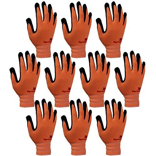 3M Super Grip 200 All Day Comfort Nitrile Foam Coated Work Gloves -10 Pairs (Large, Orange)