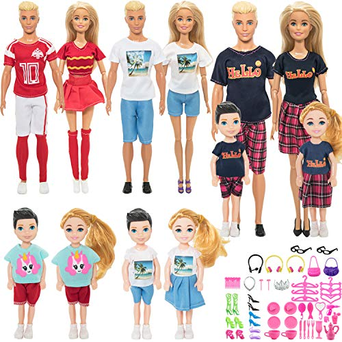 ONEST 78 Pieces Doll Clothes Parent Child Suit Set for 11.5 Inch and 5 Inch Girl Boy Doll Include 12 Set Cute Clothes with 50 Pieces Different Doll Accessories and 2 Pieces Mini Dolls
