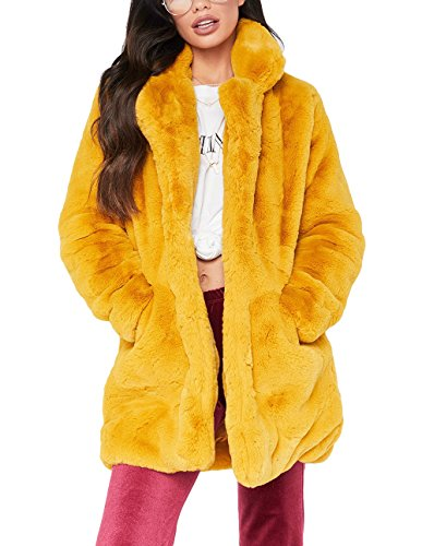 Remelon Womens Long Sleeve Winter Warm Lapel Fox Faux Fur Coat Jacket Overcoat Outwear with Pockets Yellow M