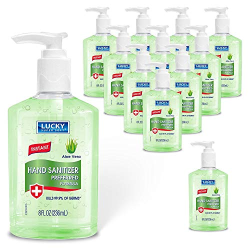 Lucky Super Soft Hand Sanitizer Gel, Alcohol-based Hand Sanitizer With Aloe For Effective Cleaning And Skin Moisturization, Safe For All In The Family (Pack Of 12, 8 oz Each)