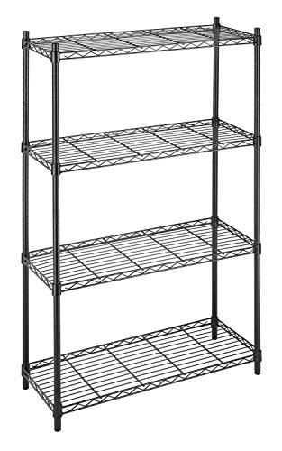 Whitmor Supreme 4 Tier Shelving with Adjustable Shelves and Leveling Feet - Black
