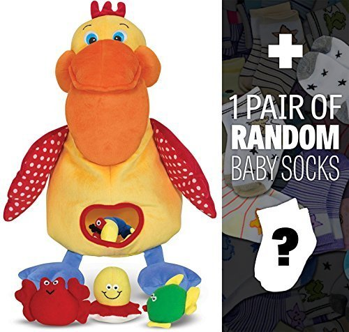 K's Kids Hungry Pelican Plush + 1 Free Pair of Baby Socks Bundle [91541]
