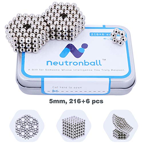 Neutronball Original Magnetic Balls 5mm 216 Pieces + 6 Spare (Silver), Magnet Building Blocks Desk Toy and Fidget Toys for Stress Relief
