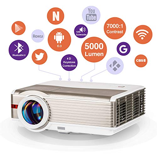 WIKISH Wifi Bluetooth Projector 200 Inch Display,5000 Lumen Led Projector Wireless Airplay to Smart Phone Laptop,Hdmi Projector for Tv Dvd Usb Stick