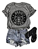 OUNAR Women Basic Witch T-Shirt Coffee Shirt Graphic Summer Casual Mom Tee