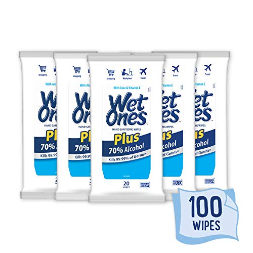Wet Ones Plus 70% Alcohol Hand Sanitizer Wipes, Kills 99.99% of Germs*, 20 Count (Pack of 5)