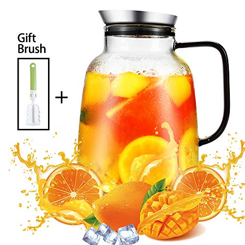 2 Liter Glass Pitcher with Lid and Spout, Cold/Hot Decanter-Glass Lever Water Jug for Cold/Hot Water, Ice Coffee and Juice Beverage by BeeTec