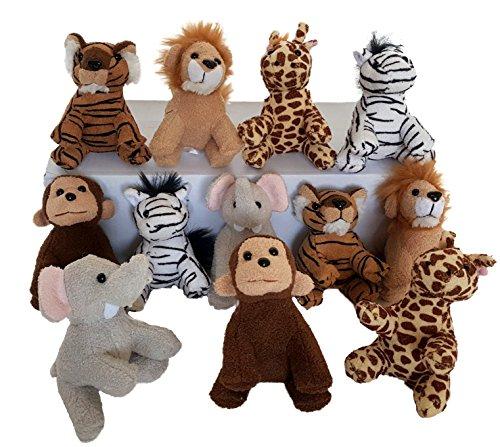 Dondor Suede Zoo Animals, 12 Piece Party Pack (Suede Zoo Animals)