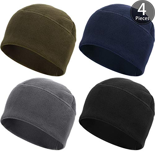 SATINIOR 4 Pieces Fleece Watch Cap Skull Beanie Cap Winter Hat for Daily and Sports (Black, Green, Gray, Navy Blue)