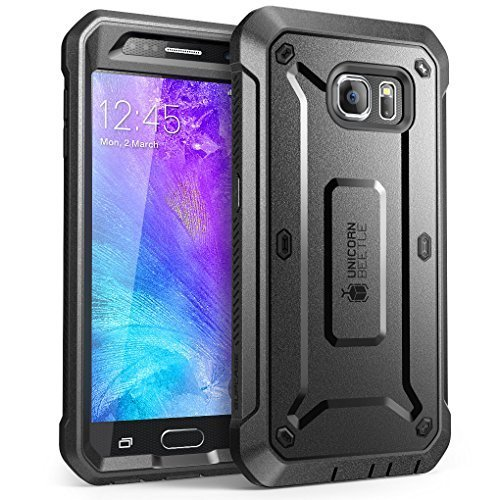 SUPCASE Unicorn Beetle PRO Series Designed for Galaxy S6 Case, with Built-in Screen Protector Full-body Rugged Holster Case for Galaxy S6 (2015 Release) (Black/Black)