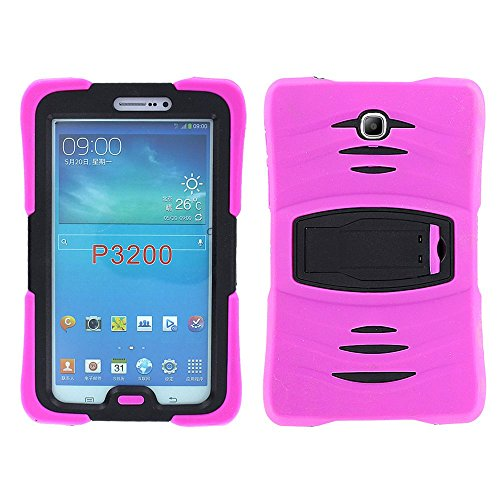 Galaxy Tab 3 7.0 (2013) Case KIQ, Full-Body Shockproof Heavy Duty Protective Cover with Kickstand Screen Protector for Samsung Galaxy Tab 3 7-inch P3200 T210 T217 (Armor Hot Pink)