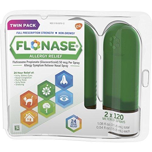 Flonase Allergy Relief Nasal Spray, 24 Hour Non Drowsy Allergy Medicine, Metered Nasal Spray - 120 Sprays 0.54 Fl Oz (Pack of 2) 1.08 Fl Oz