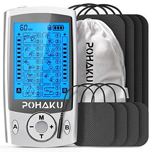 POHAKU Dual Channel TENS EMS Unit, 20 Modes Rechargeable TENS Unit Muscle Stimulator Machine with 2' and 2'x4' TENS Electrode Pads (Silver)
