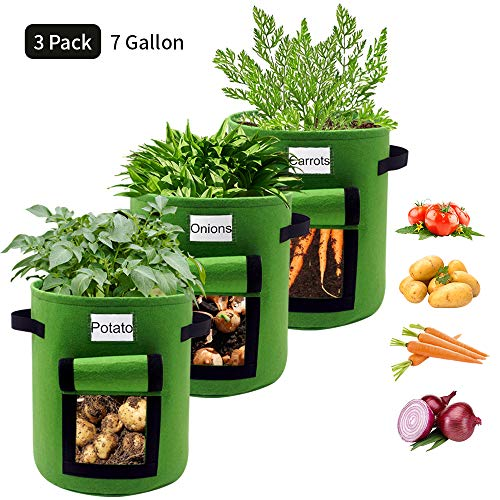 HIFELTY 3 Pack 7 Gallon Plant Grow Bags, Premium Potato Grow Bag Durable Aeration Fabric Garden Nursery Pots Round Planters Raised Beds with Window for Vegetables Fruits Flowers Growing, Green