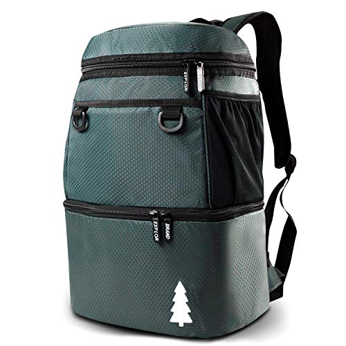 EXPLOR Insulated Cooler Backpack Double Deck, Lightweight Leakproof Backpack Cooler Compartment for Drinks and Lunch, Soft Cooler Bag for Camping, Hiking, Picnic, Men, Women - 16 cans (Gray)