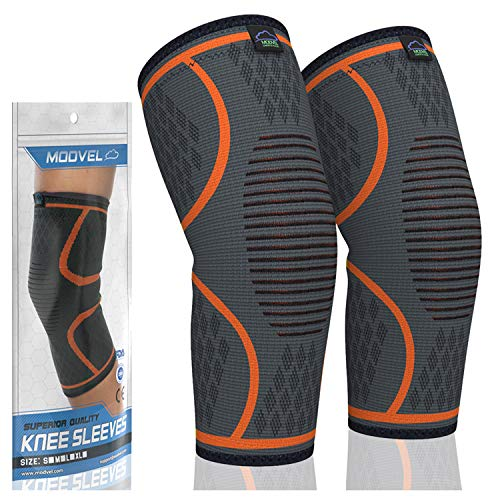 MODVEL 2 Pack Knee Compression Sleeve | Best Knee Brace | Knee Support for Running, Basketball, Weightlifting, Gym, Workout, Sports | Joint Pain Relief - Please Check Sizing Chart
