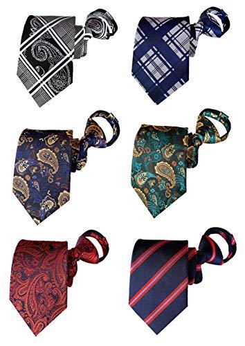BESMODZ Men's 6PCS Pretied Zipper Tie Paisley Striped Silk Woven Zip Necktie Set