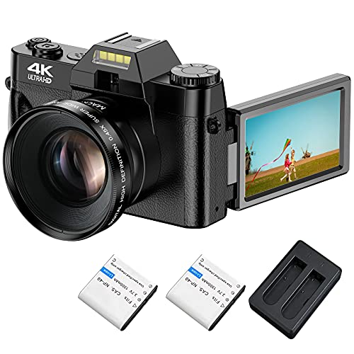 4K Digital Camera, Video Camera with WiFi for YouTube 4K 48MP 30FPS Vlogging Camera 16X Digital Zoom Camera with 180 Degree Rotatable Flip Screen Camera (Fixed Focus & Without Micro SD Card)