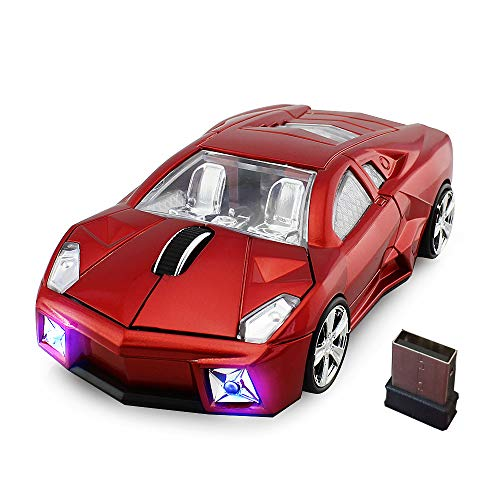 jinfili 2.4GHz Sports Car Wireless Mouse Optical Cool 1600DPI 3D USB Wireless Gaming Mice for Pc Laptop Windows 10