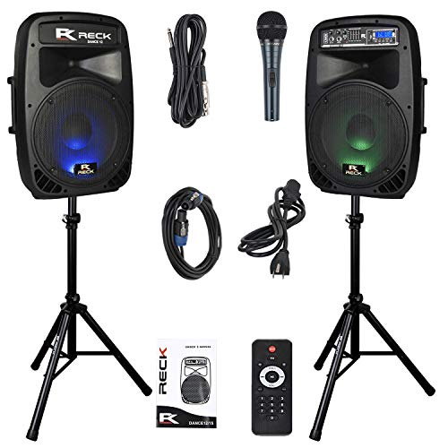 RECK DC 12 Portable 12-Inch 1000 Watts 2-Way Powered Dj/PA Speaker System Combo Set with Bluetooth/USB/SD Card Reader/FM Radio/Remote Control/Speaker Stand