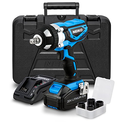 """NEIKO 10878A 20V Lithium-Ion Cordless ½"""" Drive Impact Wrench   Includes Li-Ion Battery, Fast Charger and 4 Socket Adapter Set   Square Drive"""