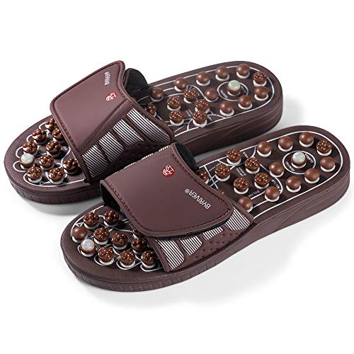 BYRIVER Portable Compact Travel Foot Massager, Acupuncture Massage Flip Flops Slippers Relaxation Tools, Gift for dad mom (03M)