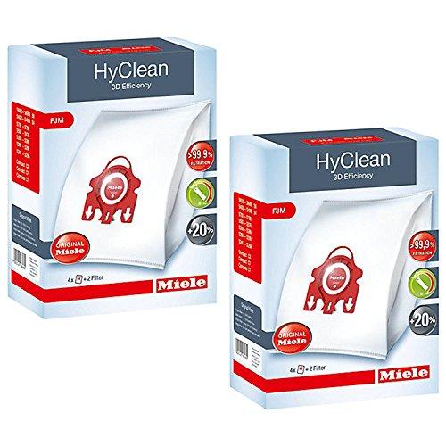 Miele HyClean 3D Efficiency Dust, Type FJM, 8 Bags & 4 Filters, Red