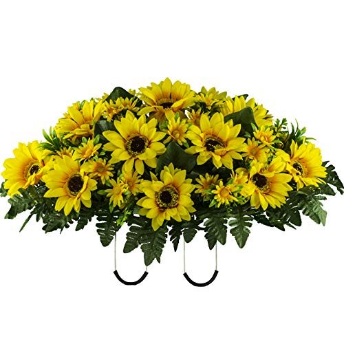 Sympathy Silks Artificial Cemetery Flowers – Realistic Vibrant Sunflowers Outdoor Grave Decorations - Non-Bleed Colors, and Easy Fit - Yellow Sunflower Saddle