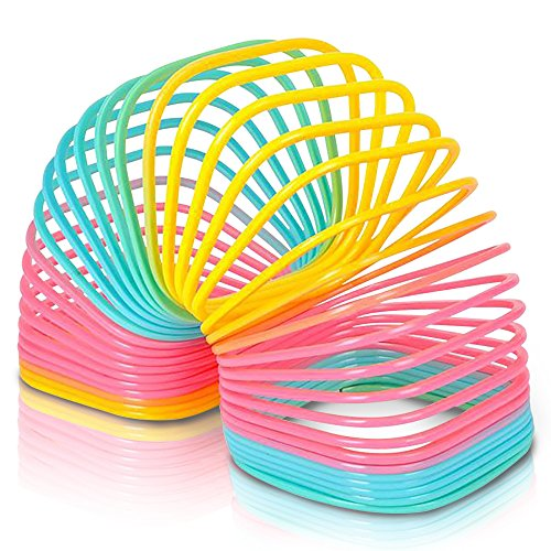 Jumbo Square Coil Spring Toy for Kids, Giant Coil Spring Toy, 4.75 Inch Giant Plastic Rainbow Colored Coil Spring, Great Gift Idea for Boys and Girls, Fun Birthday Party Favor, Novelty Gift