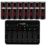 CR123A Rechargeable Batteries, Jessy 3.7V 750mA Li-ion Batteries for Arlo Camera (VMC3030/VMK3200/VMS3330/3430/3530), Flashlight, 16 Pack RCR123A Batteries with 8-Ports Charger