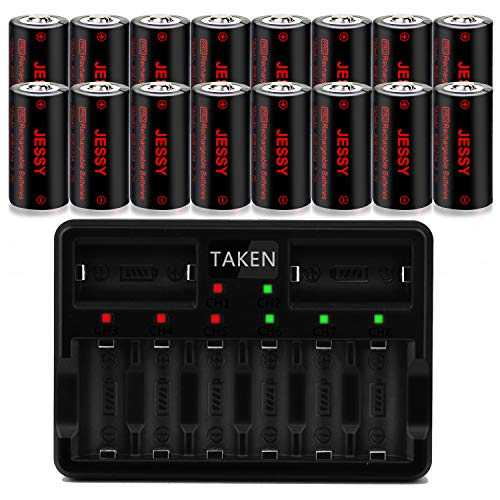 CR123A Rechargeable Batteries 16 Pack with Charger, Rechargeable Lithium Batteries [ 750mAh 3.7V ] for Arlo Cameras (VMC3030/VMK3200/VMS3330/3430/3530), Flashlight, Security Cameras Alarm System