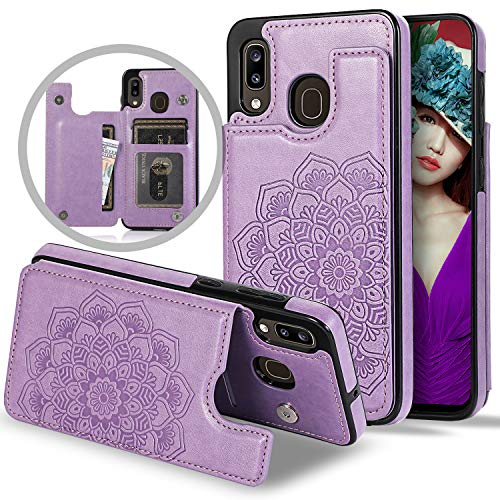 Vodico Samsung Galaxy A10E Case Wallet for Girls/Women, Protective Phone Cover with Card Holder Girly Slim Embossed Flower Floral Leather Folio Flip Magnetic Full Body Stand Shockproof Purse (Purple)
