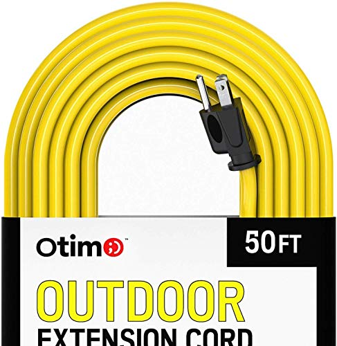 Otimo 50 Ft 14/3 Outdoor Heavy Duty Extension Cord - 3 Prong Extension Cord, Yellow