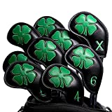 Golf Iron Covers Headcovers Club Head Cover Barudan Golf Protect Iron Clubs 4 Leaf Clover Synthetic Leather Made for Oversized Standard Small Size Pack of 10 Black