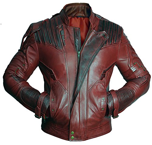 Mens Distressed Red Maroon Leather Jacket Size XL