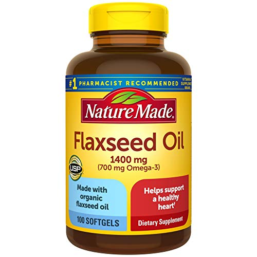 Nature Made Flaxseed Oil 1400 mg Softgels, 100 Count for Heart Health
