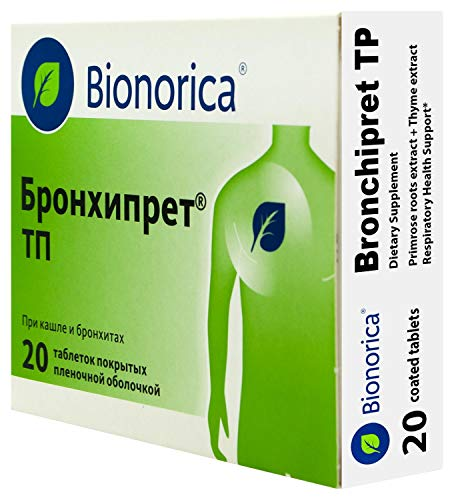 Bronchipret TP (with Primrose and Thyme extracts) for Respiratory Health Support - 20 Tablets