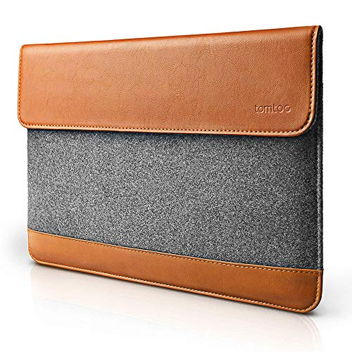 tomtoc Slim Laptop Sleeve Compatible with 16-inch MacBook Pro A2141 2019-2021, 15 Inch Old MacBook Pro Retina A1398, Dell XPS 15, Felt & PU Leather Envelope Case Bag with Accessory Pocket
