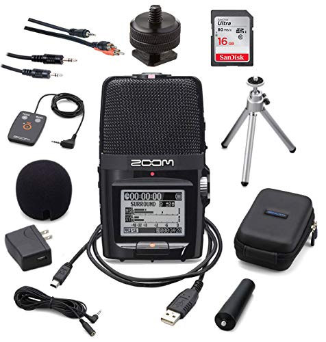 Zoom H2n Portable Digital Voice Recorder Bundle with APH2n Accessory Pack and SDHC Card and Stereo Cable