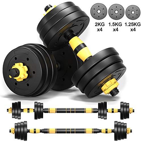Dumbells Sets for Men Adjustable Dumbbell Barbell Weights 2 in 1 with Connected Rod, 10lb, 15lb, 20lb Dumbbells Set of 2, Dumbbells Pair Free Weights for Exercises Dumb Bells (40lb (20lb x 2))