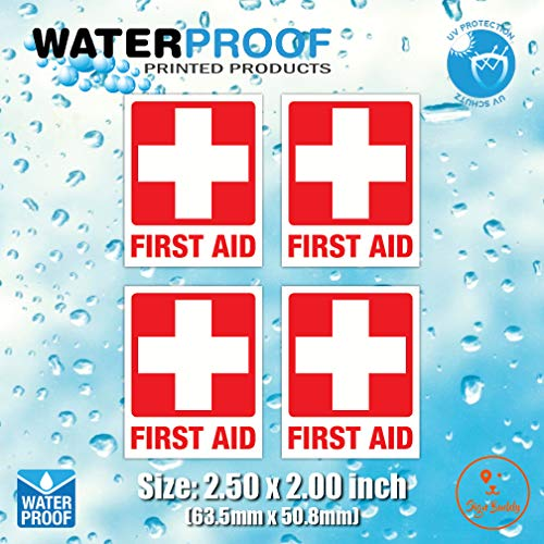 (Pack of 4pcs) Red Cross Safety Sign Waterproof Vinyl Sticker for First AID Box/Kit Decal (2.50 x 2.00 inch)