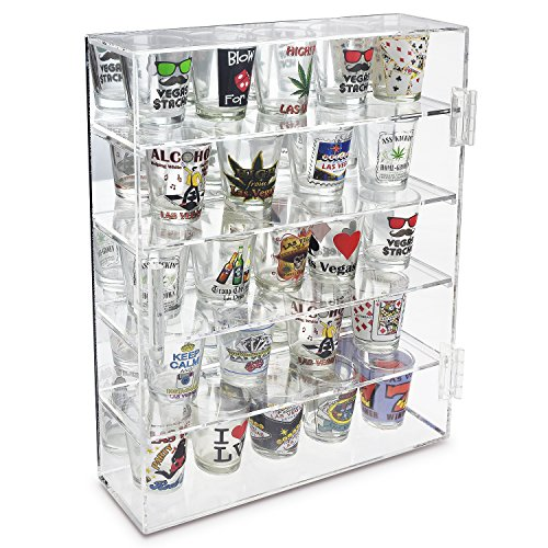 Ikee Design Mirror Back Acrylic Wall Mountable Display Case with 4 Shelves for Shot Glasses, Figures and More, Acrylic Case for Home Decor, Shop Display and Showcasing Use, 10 7/8'W x 2 7/8'D x 14'H