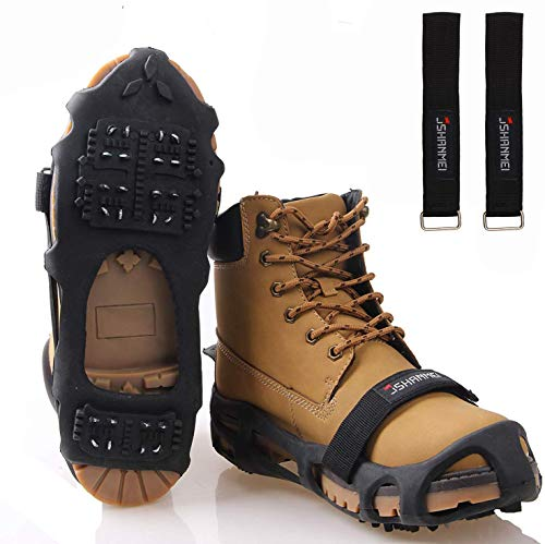 JSHANMEI Walk Traction Ice Snow Cleat Anti Slip Snow Ice Grippers Spikes, Boots Shoe Cover Winter Outdoor Hiking Fishing Climbing Size Large