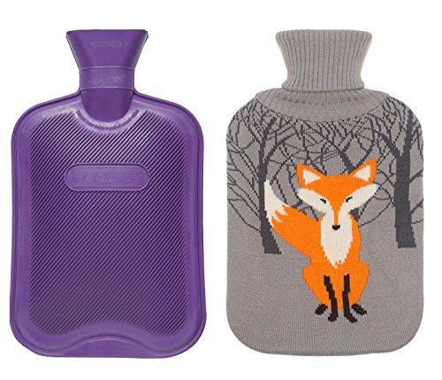 HomeTop Premium Classic Rubber Hot Water Bottle w/Cute Knit Cover (2 Liter, Purple)